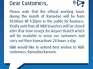NBK Ramadan 2015 Working Hours