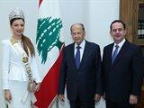 ملكة جمال لبنان مايا رعيدي تلتقي الرئيس ميشال عون في قصر بعبدا