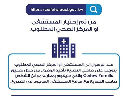 الموقع الالكتروني الخاص بالحصول على التصاريح الطبية خلال الحظر الكلي في الكويت
