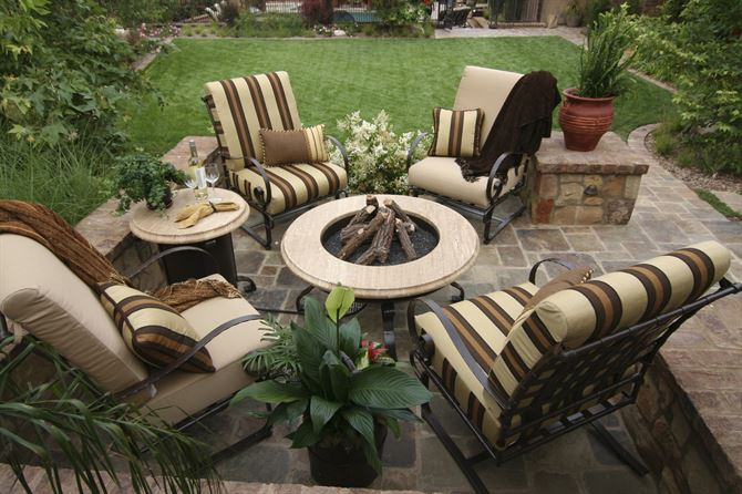 A variety of outdoor patio furniture for a hot upcoming summer