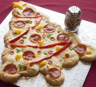 Christmas tree shaped Pizzas