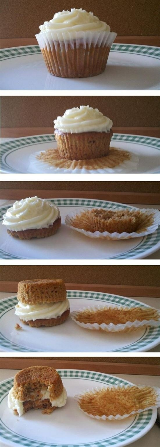 The right way to eat a cupcake