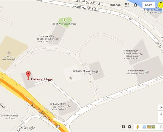 عنوان السفارة المصرية