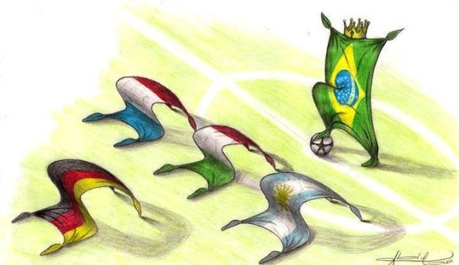رسمة ساخرة لاحد مشجعي فريق البرازيل