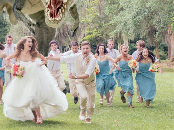 Dinosaur chasing bride and groom