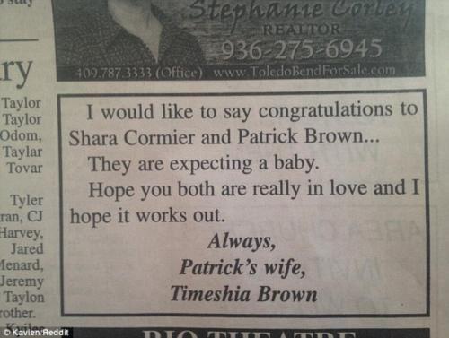 """زوجة هنأت زوجها في الجريدة على مولوده الجديد من """"عشيقته"""""""