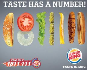 Taste has a number with Burger King