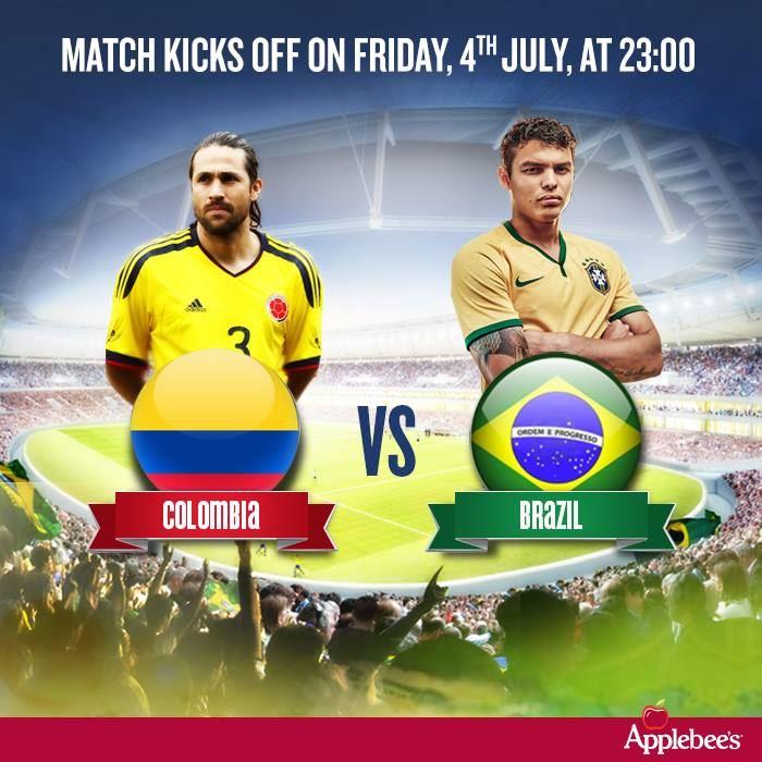 Watch Brazil Vs Colombia match tonight at Applebee's Gulf Branch