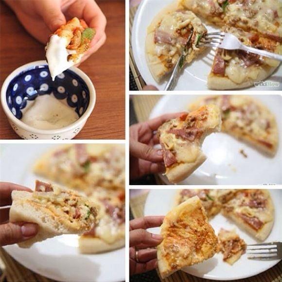 طرق مختلفة يعتمدها الناس لاكل البيتزا