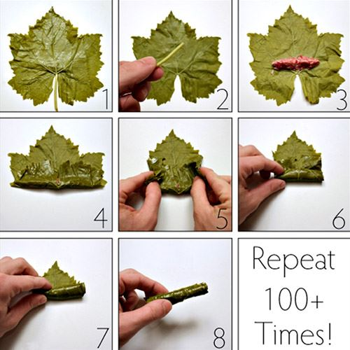 "8 steps to roll Stuffed Grape Leaves ""Warak Enab"" Properly"