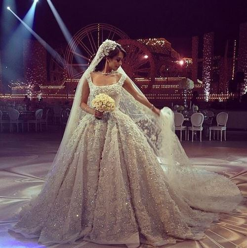 Lana El Sahely in a Legendary Wedding dress by Elie Saab