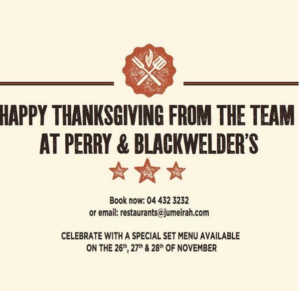 Thanksgiving offer at Perry & Blackwelder's Dubai
