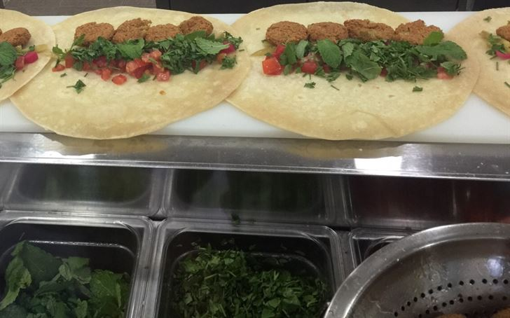 Tortilla bread, Falafel and vegetables