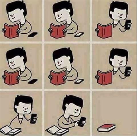 الدرس والموبايل لا يجتمعان ابدا والموبايل يغلب الكتاب