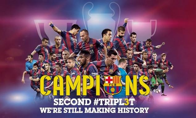 نحن الأبطال ومازلنا نصنع التاريخ - فريق برشلونة الاسباني