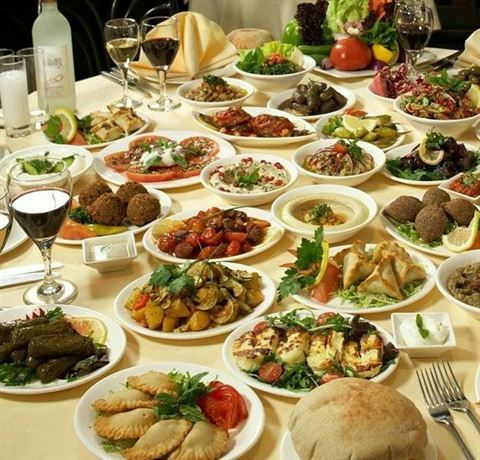 Variety of Lebanese food