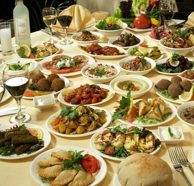 Variety of Lebanese food