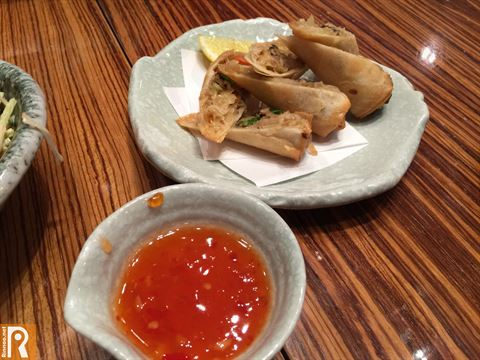 Yasai Spring Rolls with sweet chili sauce ... price is KD 2.750