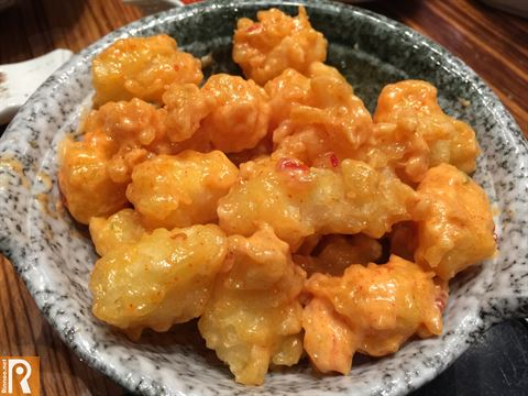 Deep fried Rock shrimps with spicy mayonnaise ... price is KD 3.950