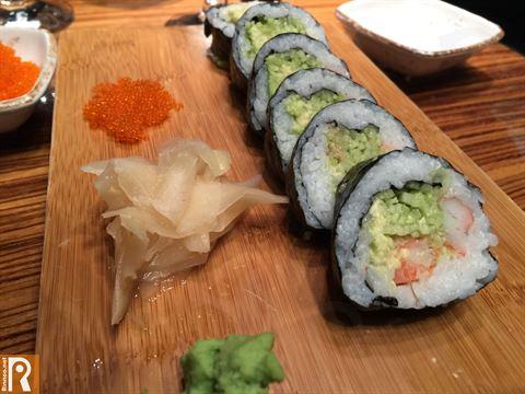 California contains Crabstick, avocado, cucumber and tobiko