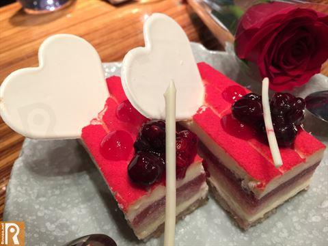 Valentine red pieces of cake