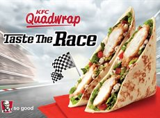 Taste the race with the new Quad wrap from KFC Grab it and go!