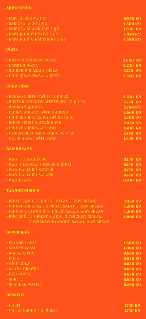 Namaste Indian Restaurant Delivery Menu