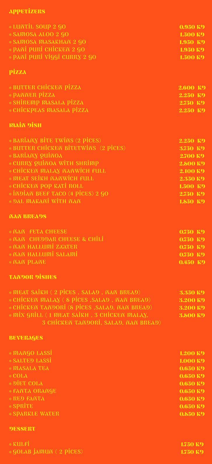 Namaste Indian Restaurant Delivery Menu