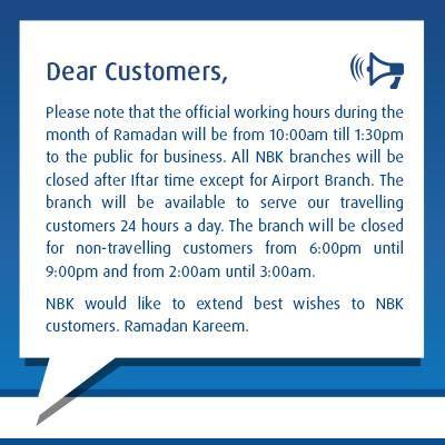 NBK Working Hours during Ramadan 2016