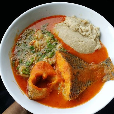 Fresh tilapia and seabass stew with okra and oat fufu