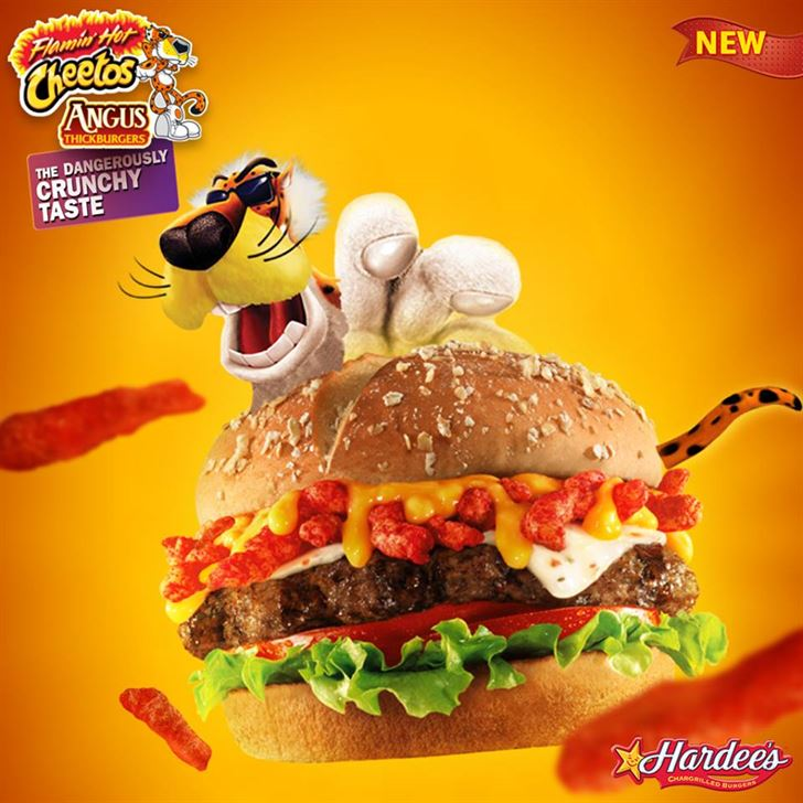Hardees new Flaming Hot Cheetos Angus Burger