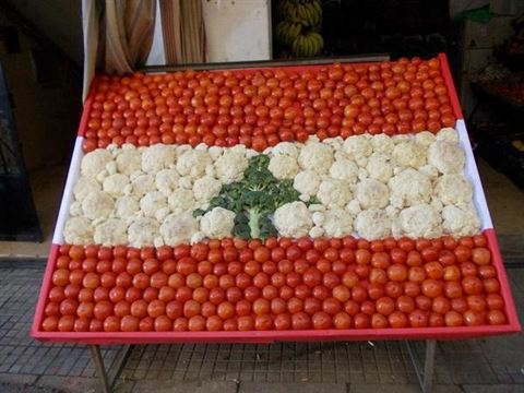 7 Lebanese Flags made with Food