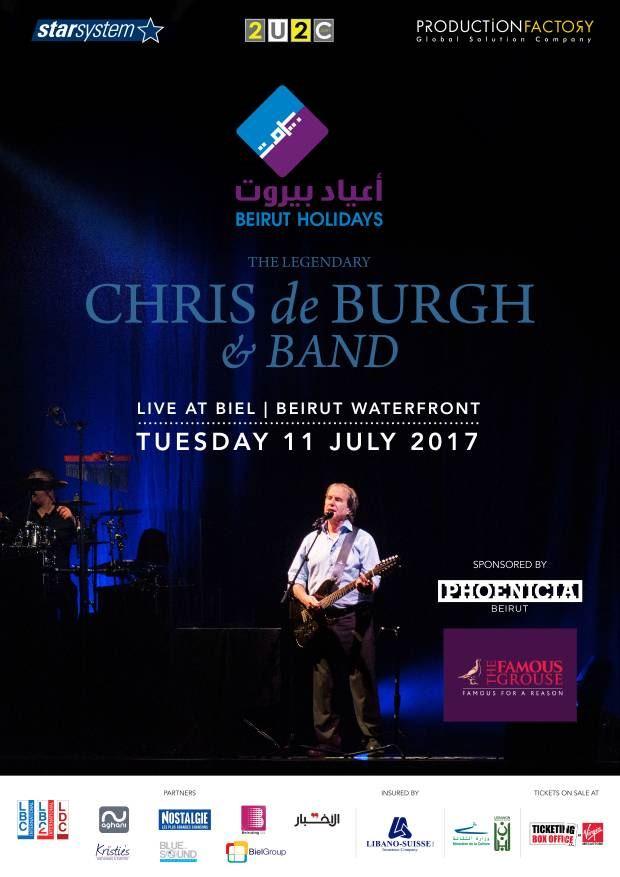كريس دو بورغ يفتتح مهرجان أعياد بيروت في 11 تموز