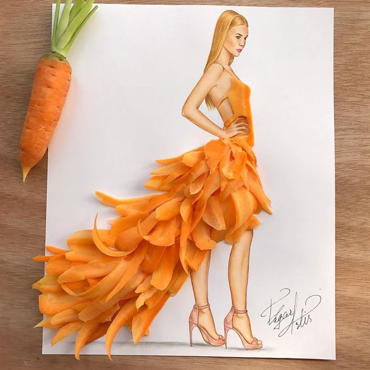 Artistic Fashion Illustrations made with Food by Edgar