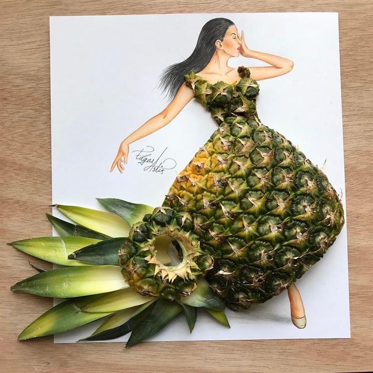 بالصور ... تصاميم فساتين رائعة مصنوعة من الأكل