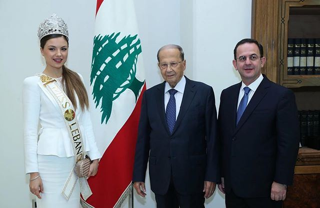 Miss Lebanon Maya Reaidy Meets President Michel Aoun