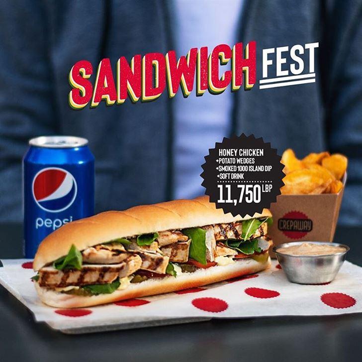 Photo 55809 on date 15 December 2018 - Crepaway Restaurant Lebanon Sandwich Fest Offer