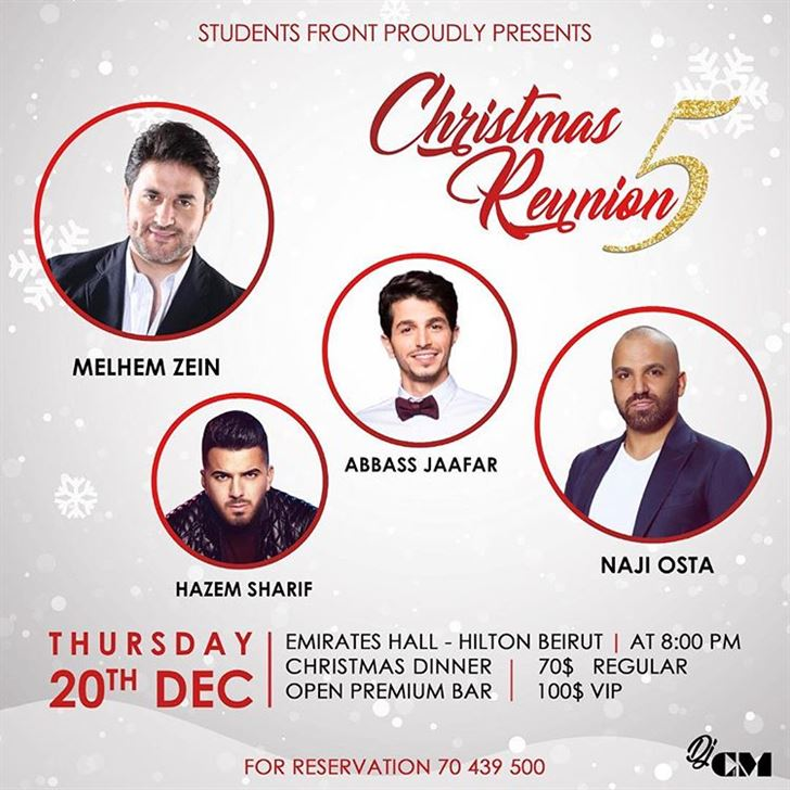 Christmas Reunion 5 Concert in Hilton Beirut on 20th December 2018