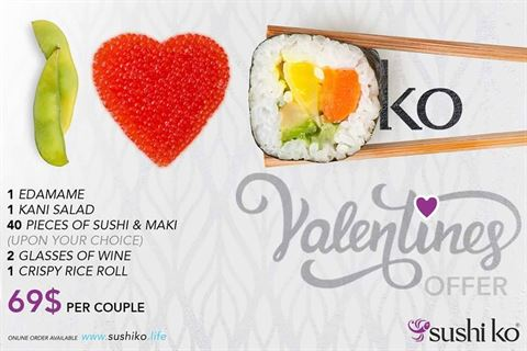 Sushi Ko Lebanon Valentines 2018 Offer