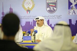 مدير عام الهيئة العامة للرياضة د. حمود فليطح خلال المؤتمر الصحفي