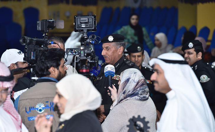 ممثل راعي الحفل وكيل وزارة الداخلية المساعد لشؤون المرور اللواء فهد الشويع متحدثاً لوسائل الإعلام