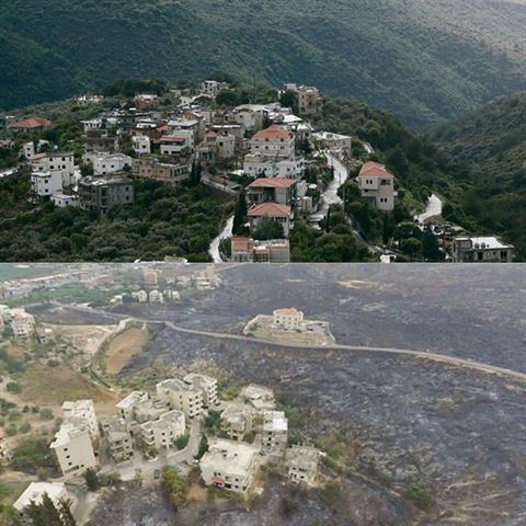 Mechref Area in Lebanon Before and After the Fires