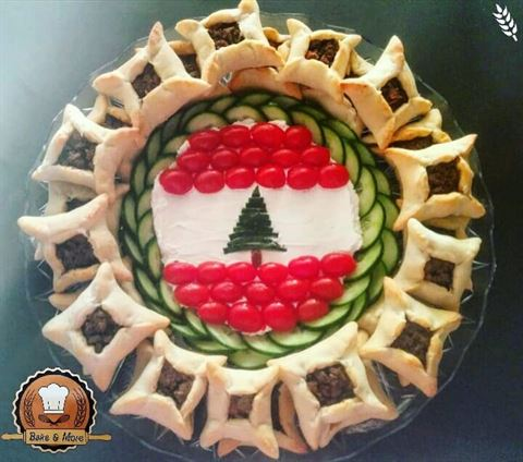 Food Dishes Representing the Lebanese Flag