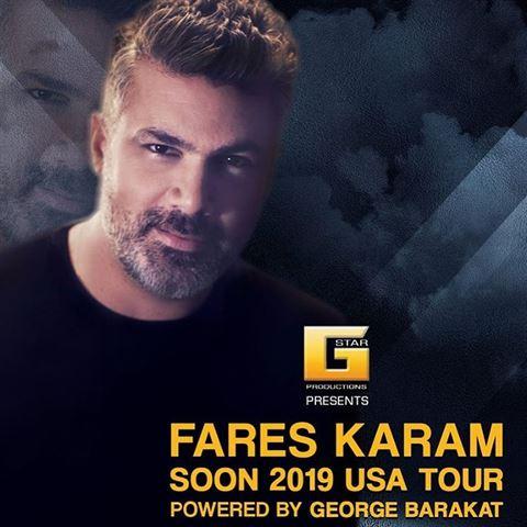 Fares Karam March - April 2019 USA Tour Schedule