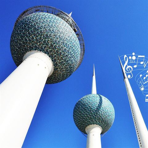 What are those Blue Circles that are around Kuwait Towers Spheres?