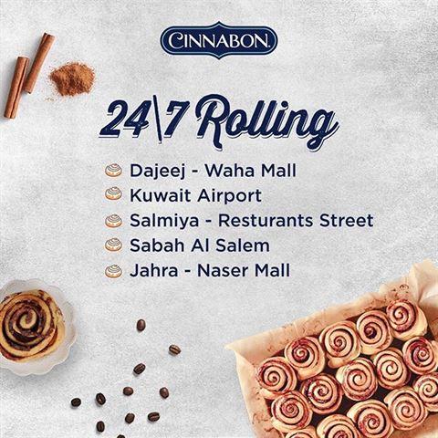Cinnabon Kuwait Branches Opening 24 Hours