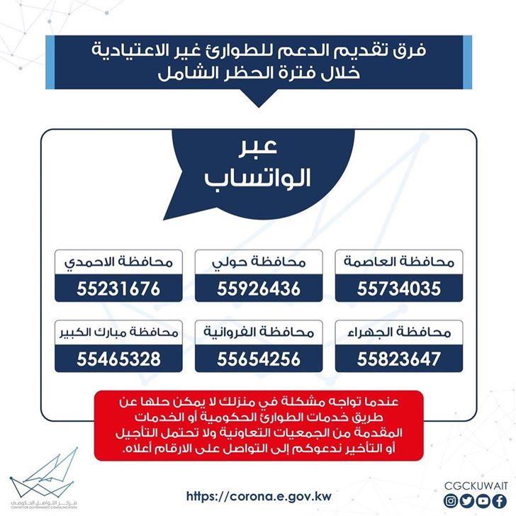 أرقام الطوارئ الغير اعتيادية في الكويت خلال فترة الحظر الشامل