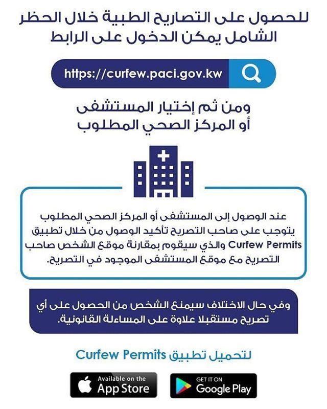 الموقع الالكتروني الخاص بالحصول على التصاريح الطبية خلال الحظر في الكويت