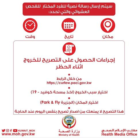 The Ministry of Health announces the selection of a random sample for conducting corona test