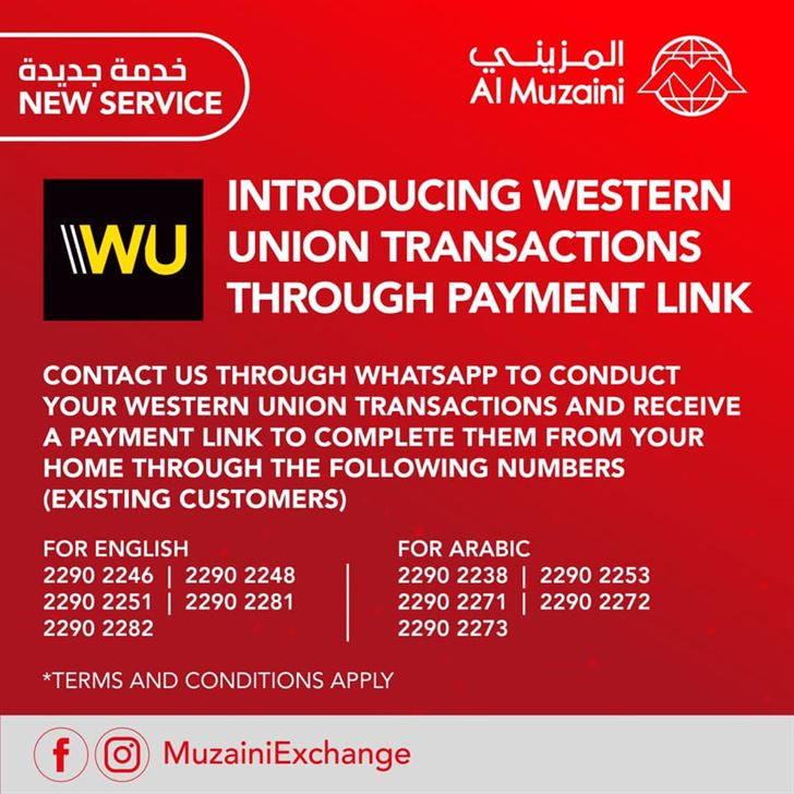 Al Muzaini introduces Western Union Service through Whats App